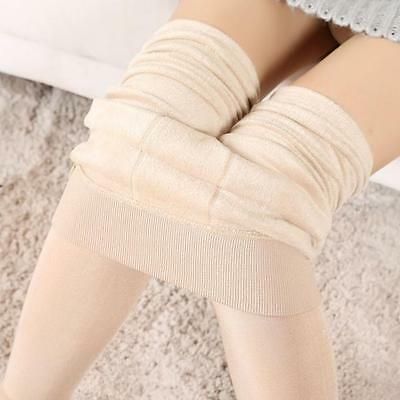 Women Winter Thick Warm Fleece Lined Thermal Stretchy Leggings Pants Beige  NEW