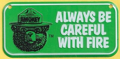 US Forest Service Smokey Bear Green Bicycle License Plate Metal Collectible Sign
