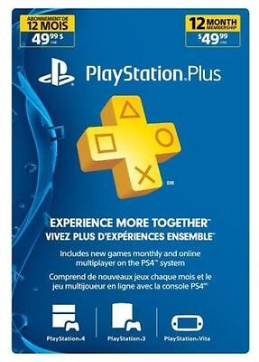 Playstation Plus 12 Month 1 Year Membership Subscription Code - PS3/PS4/VITA