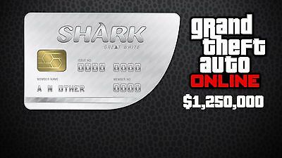 Grand Theft Auto V Online GTA Xbox One Great White Shark Cash Card $1,250,000