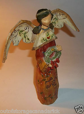 Christmas Joy Angel With Wreath - 9 Inches Tall By 7 1/2 Inches Wide
