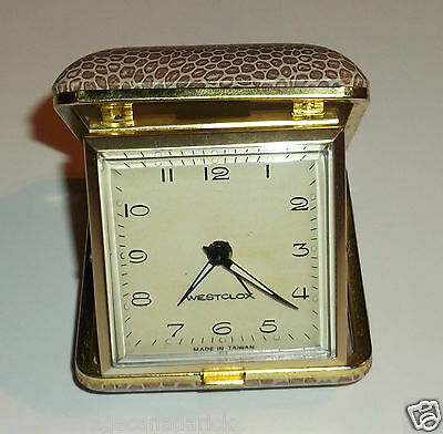Vintage Westclox Travel Alarm Clock Leopard Print Case Works Great