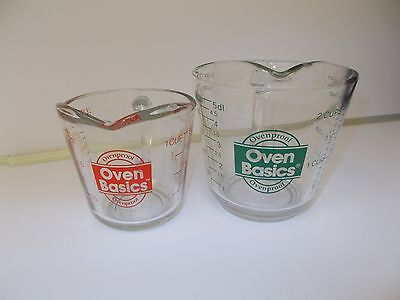 2 Anchor Hocking Ovenproof Measuring Cups 1 Cup Size Red/2 Cup Size Green