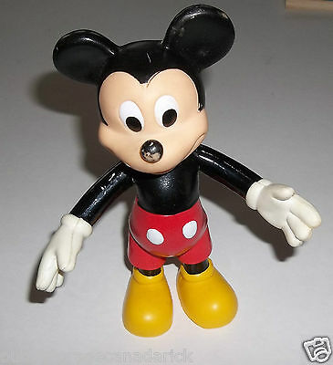 Vintage Mickey Mouse Disney Plastic Statue Toy Made In China 7 Inches Tall