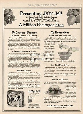 1916 Jiffy Jell Dessert Waukesha WI Pure Food WI Antique Décor Kitchen Ad