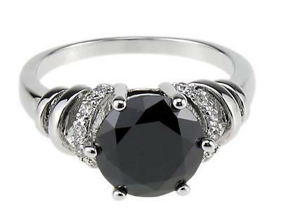 Shiny Onyx Ring 18KT Gold filled Jewelry Anniversary Bands size 6