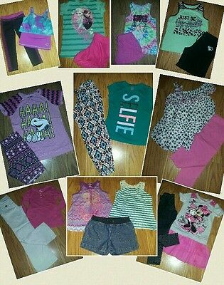 HUGE lot of girl clothes size 7 8 7/8 shirts shorts Minnie frozen athletic +MORE