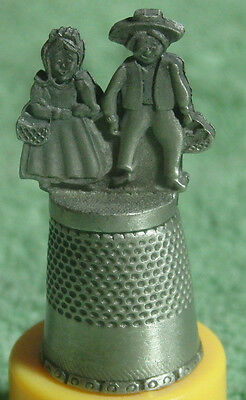 Vintage Pewter Souvenir Thimble Of Amish Couple By Fort
