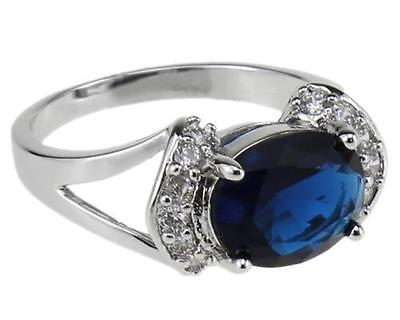 Sapphire Blue Stone Ring 18K Classical Style Jewelry White Gold Party Bands 7#