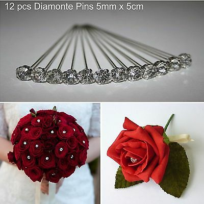 12x Diamonte Head Pin Wedding Bouquet Corsage Floral Florist Pins Decoration 5cm