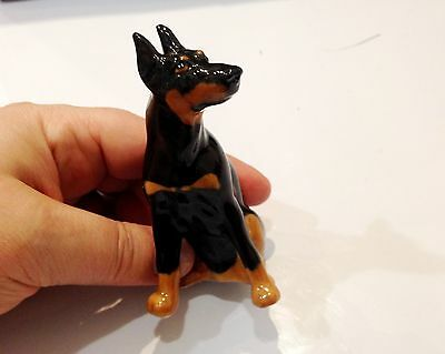Doberman Pinscher porcelain figurine dog black color realistic Souvenirs Russia
