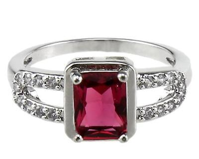 Gold Filled Ruby Stone Rings 18KT Beautiful Jewelry for Women size 6