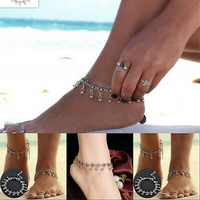 Women Silver Plated Chain Anklet Bracelet Barefoot Sandal Beach Foot Jewelry Hot