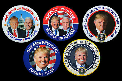 Donald Trump President 2016 Mike Pence VP Five Photo Buttons Pins Inauguration