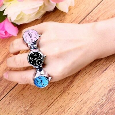 Gift Round Fashion Quartz Finger Ring Watch Elastic Stainless Steel