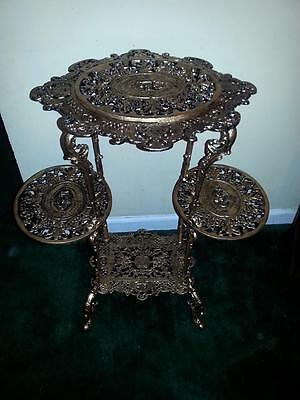 Antique late victorian ornate cast iron 4 shelves plant stand (very heavy)