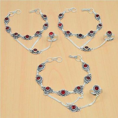 Wholesale 3Pc 925 Silver Plated Red Ruby Bracelet-Ring Bridal Hathphool Lot