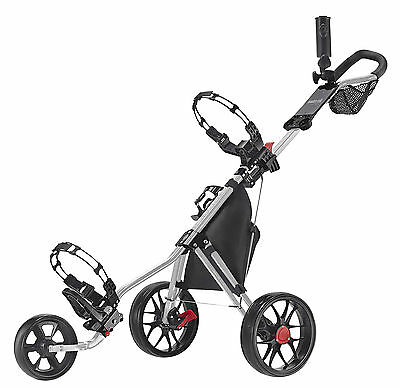 Caddytek 11.5 ALU 3 Wheel Golf Push Trolley lightweight Caddy Silber Bikes black