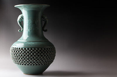 Korean Celadon Goryeo Cranes & Clouds  Reticulated Basket Vase Signed #7432
