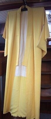 LOVELY YELLOW PATTERNED VINTAGE SILK JAPANESE FULL LENGTH KIMONO CIRCA 60's-80's