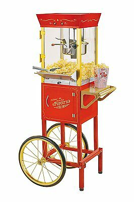 """53"""" Tall Commercial 6 Oz Kettle Popcorn Maker & Cart with Stylish Red Finish New"""