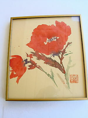 Vintage Asian Watercolor Painting RED POPPY FLOWER signed