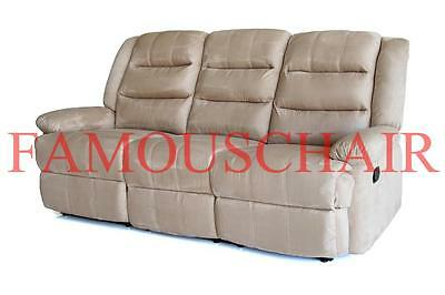 Deer velvet Sofa Couch Lounge Manuel Recline Relax Chair Home Theater 3 Seater