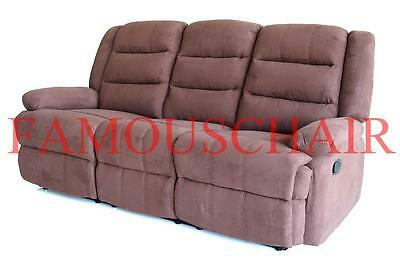 3 Seater Deer velvet Sofa Couch Lounge Manuel Recline Relax Chair Home Theater
