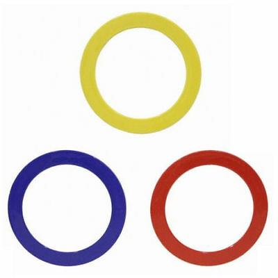 3 Coloured Plastic Juggling Rings, Blue, Red & Yellow