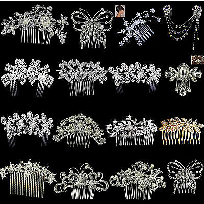Women Crystal Rhinestone Pearls Hair Clips Flower Diamante Comb Bridal Wedding B