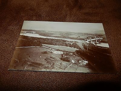 Early Photochrom Real Photo postcard- Menai straits from Anglesey Column -Wales