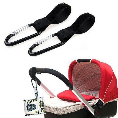2 Pack Baby Stroller Buggy Puschair Bar Velcro Pram Strap With Carabiner Clip