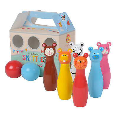 NEW!!! Tiger Tribe Kids Wooden Animals Bowling Skittles Set