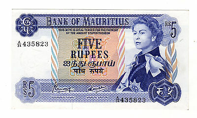 Mauritius 5 Rupees 1965 Pick 30 XF Circulated Banknote