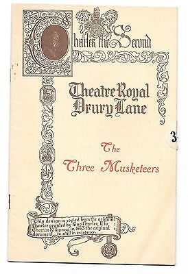 Vintage THEATRE ROYAL DRURY LANE THE THREE MUSKETEERS 1920s Programme / playbill