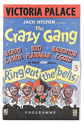 Vintage VICTORIA PALACE THE CRAZY GANG Theatre Programme 1950s Bud Flanagan