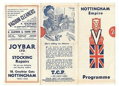 Vintage NOTTINGHAM EMPIRE Sept 15th 1945 Variety Theatre Programme / playbill