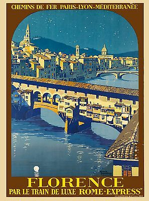 Florence Italy Train Rome - Express Italian Vintage Travel Advertisement Poster