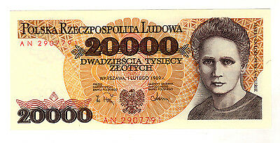 Poland 20000 Zlotych 1989 Pick 152 UNC Uncirculated Banknote