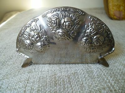 vintage pretty letter or papers holder / stand silver plated flowers roses