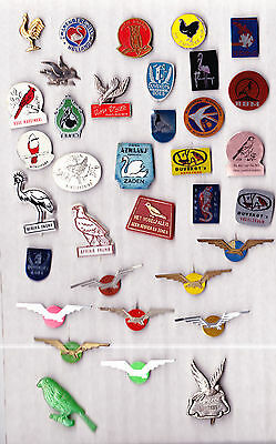 JOB LOT COLLECTION Vintage BIRD pin badges 1960s PIGEON SWAN OWL ROOSTER CHICKEN