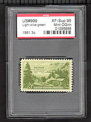 US # 999 3c - PSE Graded: XF-Sup95 - Mint/OGnh (Encapsulated) Nevada Cenntennial