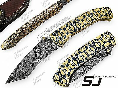 Hand Engraved Damascus Folding Knife