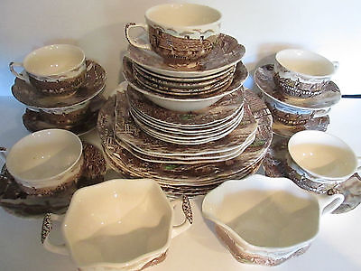 41 Pcs Johnson Bros Olde English Countryside Brown Multi Color Dinnerware Dishes