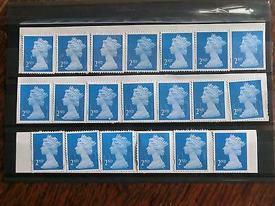 GB 20 2nd Class Blue Unfranked Stamps,On easy peel paper