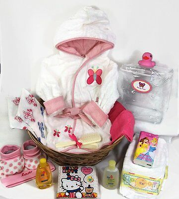 Sunshine Gift Baskets - Baby Bath Robe Gift Set with a Handy Pack Pink