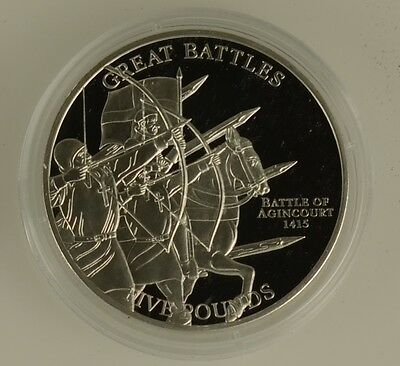 2009 Jersey £5 Five Pound Coin The Battle Of Agincourt 1415 Silver Proof