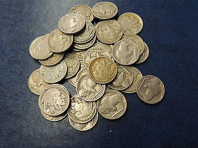 40 Coin Lot-Indian Head/buffalo Nickels-Allfull Dates-Free Shipping!