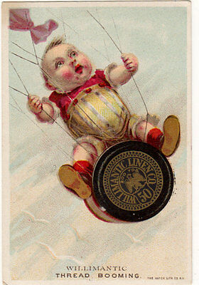 Advertising Trade Card WILLIMANTIC Six Cord THREAD Hatch Lith Co NY baby