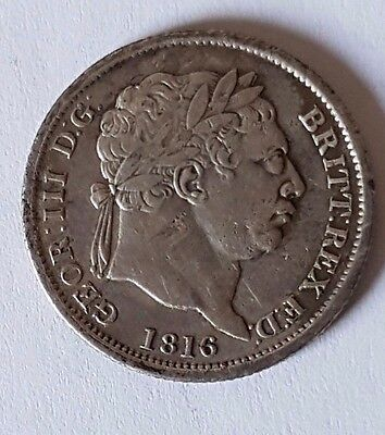 1816 King George III - SILVER SHILLING COIN